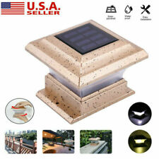 """New listing 4"""" x 4"""" Waterproof Solar Powered Post Deck Cap Fence LED Light Outdoor Lighting"""