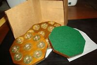 Teak & Brass Coasters/Trivets - Teak and 12 ga shotgun shells, set of four (4)