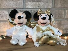 Walt Disney World Mickey Minnie Mouse Angel Bean Bag Plush Stuffed Animal RARE