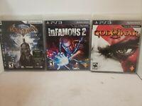 PS3 Lot Batman Arkham Asylum  Infamous 2 , GOW 3  VG w/ Manuals Complete
