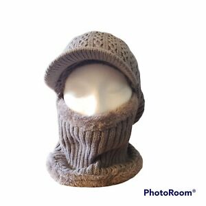Gray Knit Ski Mask Stocking Cap Hat with Bill Soft Lining Unbranded