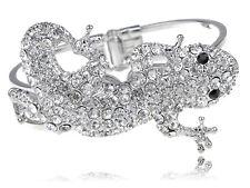 Silver Clear Crystal Rhinestone Cynops Orientalis Reptile Bangle Bracelet Cuff