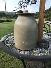 Antique Salt Glazed Crock W/ Lid Container Jar Country Primitive