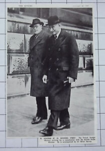 French Foreign Minister M Schuman Oliver Harvey 10 Downing St 1949 News Clipping