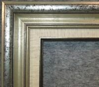 "3.25"" Antique Silver Leaf Ornate photo Oil Painting Wood Picture Frame 58S"