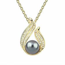.925 Sterling Silver Black Pearl Pendant Necklace Fashion Jewelry Party Pearls