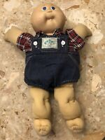 Vintage 1985 Cabbage Patch Kids Baby Boy Doll Overall/shirt Outfit Blue Eyes Toy