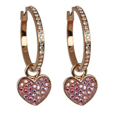 KIRKS FOLLY SPARKLE HOOP EARRINGS with HEART CHARM  goldtone  VALENTINE'S DAY