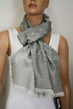 GUCCI 165904 Strickschal mit GG Jacquard-Muster 45x180 cm Wolle/Seide grau NEU
