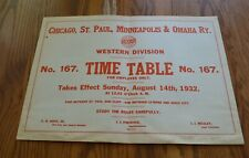 1932 Omaha Railroad Western Division Employee Timetable 167