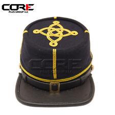 Civil War Union Navy Blue Captains Leather peak kepi with Green Band&Gold Braid