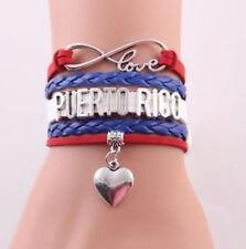 Handmade Genuine Leather Color PUERTO RICO LOVE Alloy Pendant Bracelets