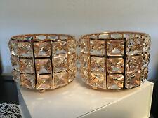Rose Gold Candle Holders Geometric Rhinestone Fancy Retro Vibe