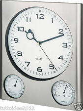 OROLOGIO da parete silenzioso idea regalo con termometro ed igrometro
