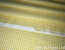 PRETTY ROSE AND HUBBLE YELLOW GINGHAM PRINT FABRIC 100% COTTON HALF METRES