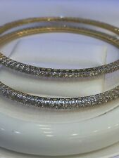 6.80 Cts Round Brilliant Cut Diamonds Bangles In Fine Certified 14K Yellow Gold