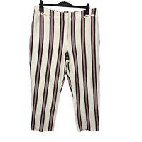 Per Una M&S Size 18 Eur 46 Long Creme Striped Linen Blend Straight Leg Trousers