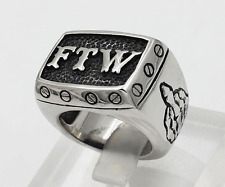 FTW FOREVER TWO WHEELS F#CK THE WORLD OUTLAW BIKER STAINLESS STEEL RING SIZE 9