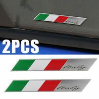 Useful 2pcs Car Italy Flag Logo-Italian Emblem Stickers Side Fender Decal Badge-