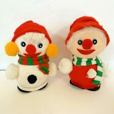 Mr And Mrs Snowman Figures With Knit Clothing