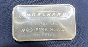 Engelhard 1 oz .999 Fine Silver Bar Portait Vintage