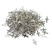 200pcs Silver Alloy Cross Shape Charms Pendants DIY Jewelry Making Findings