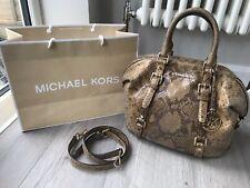 Michael Kors Python Snake Leather Bedford Bowling Bag Tote Crossbody Satchel