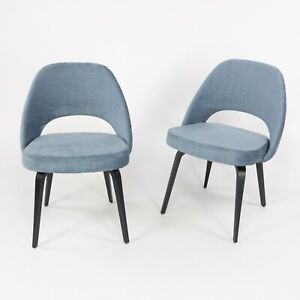 Blue Chenille 2020 Eero Saarinen Knoll Executive Side Chair with Wood Legs 2x