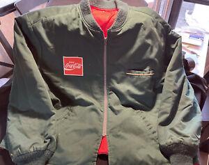 Vintage Coca Cola Coke Worker Jacket Uniform Bomber Style Green 1960's