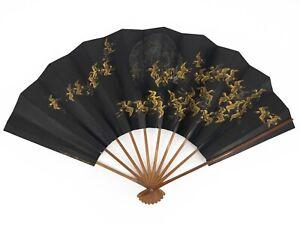 Vintage Japanese Large Odori 'Maiogi' FoldingDanceFan Golden Cranes: May20-A