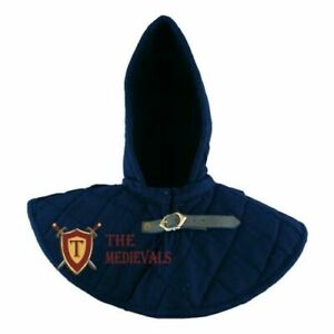 MEDIEVAL HOOD WITH COLLAR THICK PADDED GAMBESON ARMOR CHAUSSES SCA LARP