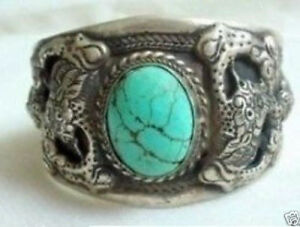 Tibet silver turquoise carve dragon cuff bracelet