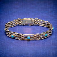 ANTIQUE VICTORIAN TURQUOISE GATE BRACELET 9CT GOLD CIRCA 1900