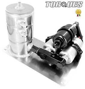 Twin Bosch 044 Fuel Pumps+ HighFlow Filter Manifold Cradle Swirl Pot Setup BLACK