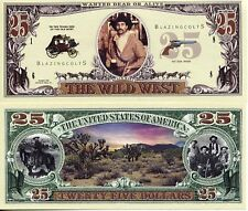 Wild West $25 Dollar Bounty Bill Fake Funny Money Novelty Note with FREE SLEEVE