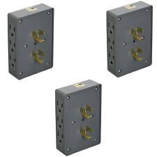 3 PACK SIDE ENTRY 6-WAY ELECTRICAL SOCKET OUTLET SPLITTER IN-WALL TAP ADAPTER