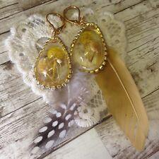 Fashion Women Flower Drop with Feather Drop Dangle Gold Earrings