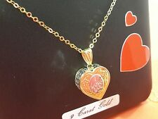 "9ct gold heart and chain 9ct gold ladies gift boxed ""I love you"" real gold"