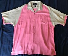 NAT NAST Luxury Originals Mens Large Short Sleeve Button Up Silk Shirt