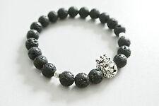 Löwen Armband mit Krone Lava Bracelet Silber 100% Handmade Fashion Buddha