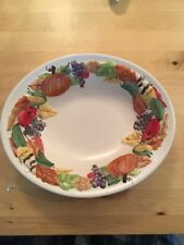 Special Place Serving Bowl Fall Design Pumpkins, Grapes Harvest 10""