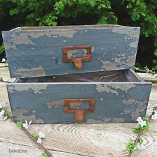 2 x Deko Schublade (Set) Antik Maritim blau Vintage Pflanztopf Shabby Blumentopf