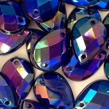 50 pcs x Sew On 10x14 mm Acrylic Rhinestones  Blue Color Teardrop Shape