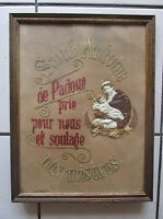 ancien cadre-canevas-tapisserie-points de croix-représente ST-ANTOINE DE PADOUE