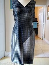 BN CHRISTIAN ALTA MODA NY SZ 6 SILK DOTS STRIPE SHEATH DRESS BLK BEIGE RET $1360