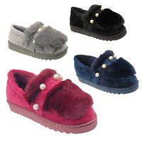 Ladies Womens Faux Fur Mule Pearl Slippers Indoor warm Winter Shoes Sizes UK 3-8