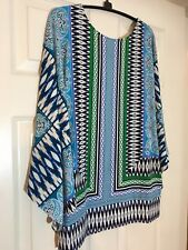 Chicos Size 1(10-12) Blue.green.white Dolman sleeve top- 2 looks in one!