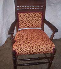 Carved Walnut Eastlake Armchair / Chair-gold / burgundy  (AC71)