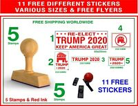 Donald Trump *RE-ELECT TRUMP 2020* Patriotic Rubber 5 Stamps 11 STICKERS  FLYERS
