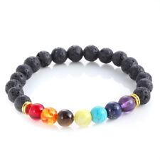 7 Chakra Gemstone Bracelet Natural Black Lava Stone Crystal Yoga Reiki Healing